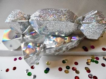 Small Wedding  Cracker Favour / gift boxes silver plain, crackle and spot holographic